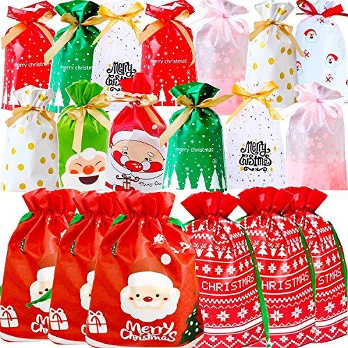 KAHEIGN 46 Piezas Juego De Bolsas De Regalo Con Cordón De Navidad, 10 Estilos 2 Tamaños Bolsas De Navidad Bolsa Para Envolver Regalos De Navidad Pack Kids Bolsas De Regalo Con Cordón