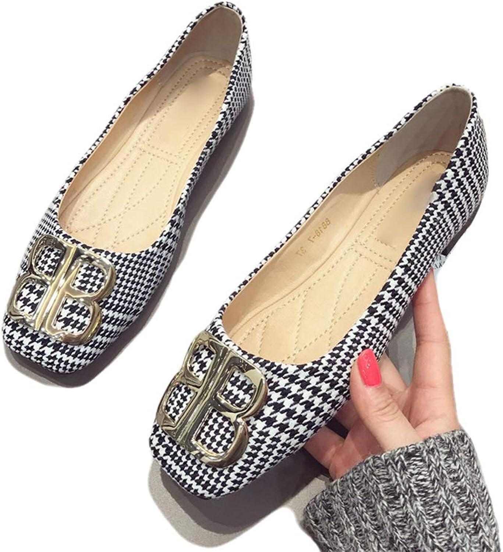 August Jim Women's Flat Dress shoes Square Toe Buckle Ballet Comfort Wide Width Flat shoes