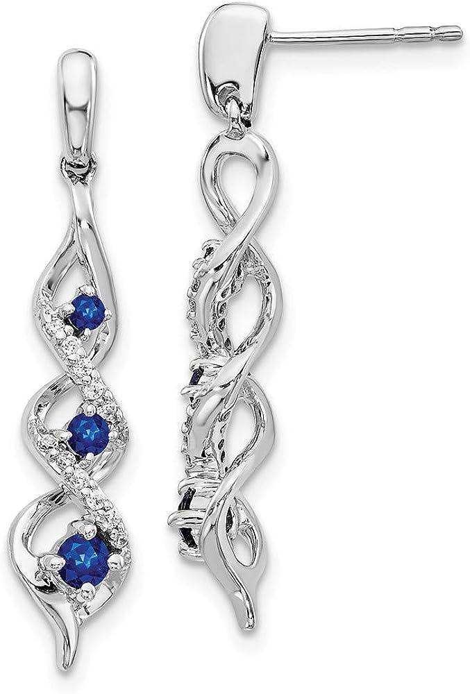14k White Gold Diamond Blue Sapphire Post Stud Drop Dangle Chandelier Earrings Gemstone Fancy Fine Jewelry For Women Gifts For Her