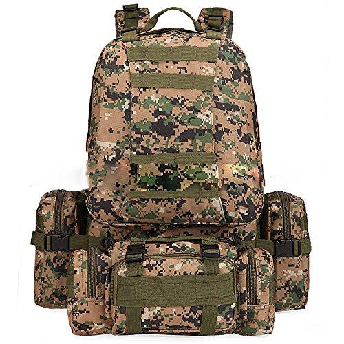 Sac à Dos Multifonctionnel Extérieur De Camping De Randonnée Grande Capacité 60L Sac à Dos Tactique De Camouflage Sac à Dos D'escalade Et D'aventure Imperméable Et Durable,G