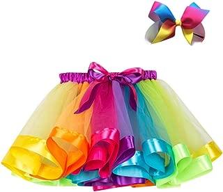UMFun Kids Girls Tutu Party Dance Ballet Skirt Toddler Rainbow Colors Skirt+Bow Hairpin Set