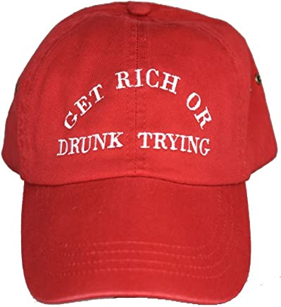 3f9720f4bb86b Get rich or drunk trying red baseball cap 100% cotton dad hat