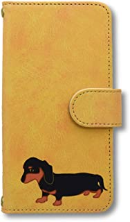 ミニチュアダックス スマホケース iPhone 手帳型 iPhone7 iPhone8 イエロー ダックスフンド カニヘンダックス 犬 ペット スマホカバー スマートフォン 携帯 スマホ ブック型 アイフォン Fave フェイブ TG f013140-0805