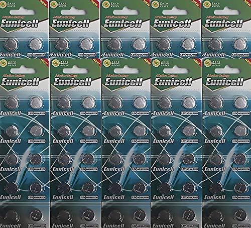 100 pilas de botón AG10, LR54, LR1130, L1131, SR1130W, 389, G10 1,5V EUNICELL