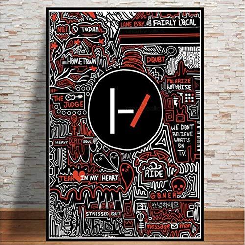 yhnjikl Hot Abstract Twenty One Pilots Rock Band Estrellas Cartel Arte de la Pared Pintura Moderna Pared Cuadros para la Sala de Estar Decoración para El Hogar 40X60 CM Sin Marco