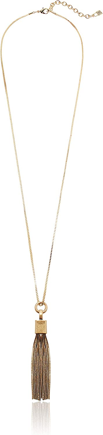 Chaps Women's Gold Tone 32in Tassel Y Necklace, One Size