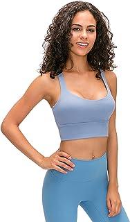 Cross Back Yoga Bras, Women's Sexy Breathable Comfy Sports Bra for Gym Yoga,Blue,4