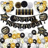 Silvester Deko 2021 Dekoration Set, Neujahr Silvesterdeko, Happy New Year Girlande, Folienballons, Fotorequisiten,Konfetti Ballons. Neujahrsdeko, Silvesterpartydeko Accessoire Für Silvesterparty