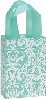 SSWBasics Small Aqua Damask Frosted Plastic Shopping Bags - 5