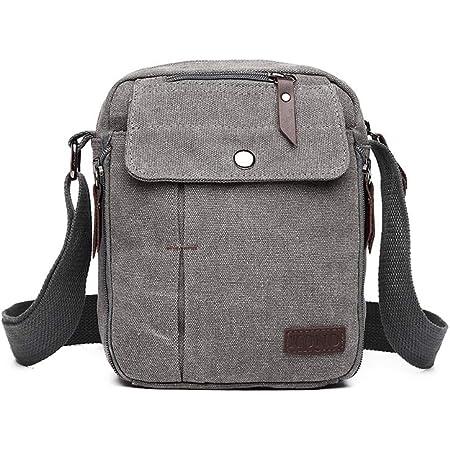 Kono Canvas Messenger Bag Strapazierfähige Crossbody Umhängetasche Männer Frauen Reise Organizer Umhängetasche mit mehreren Taschen für Schuleinkäufe Sport