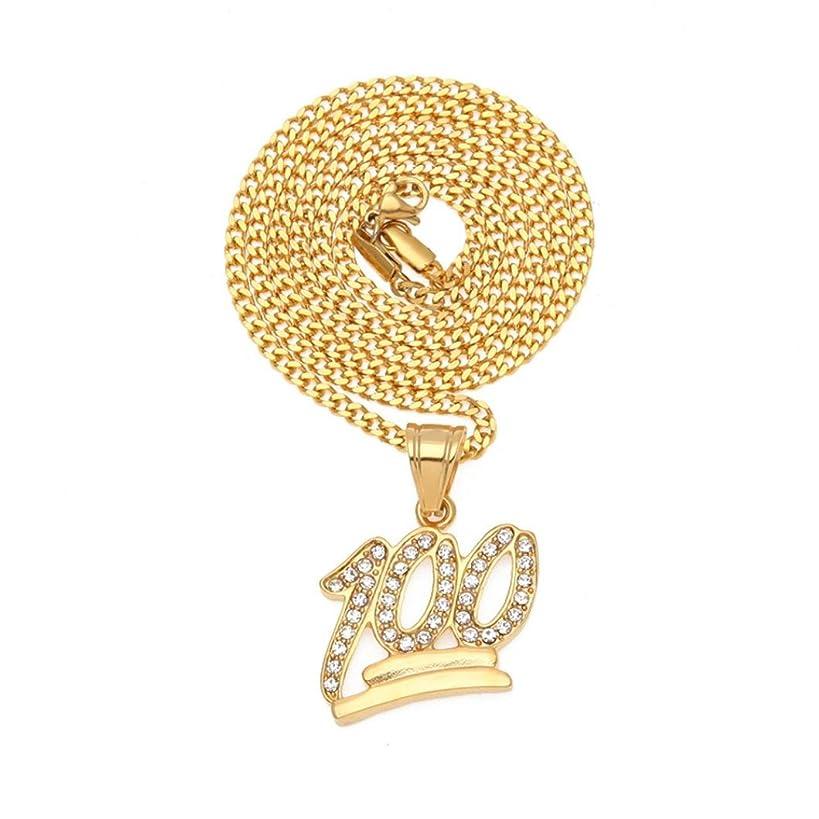 100 Logo Pendant Bling Necklace,Fimkaul Crystal Diamond Hip Hop Statement Necklace Cuban Chain