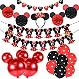 Minnie Themed Party Supplies Birthday Decorations Red and Black for Girls, Ear Headband, Happy Birthday Banner and Garland for 1st 2nd Birthday Decorations
