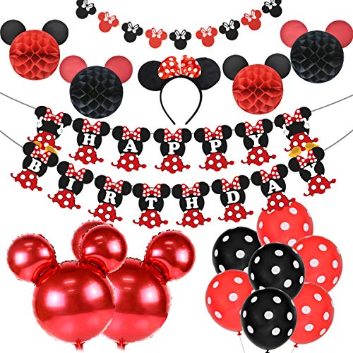 Artículos para la fiesta de Minnie Mouse Decoraciones de cumpleaños Rojo y negro para niñas, Cinta para la oreja, Banner de feliz cumpleaños y Guirnaldas para las decoraciones del 1 ° 2 ° cumpleaños