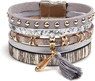 European and American Fashion Multi-Layer Fringed Leather Bracelet, Personality Temperament Wild Wide-Edge Alloy Accessori...
