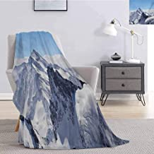 jecycleus Winter Luxury Special Grade Blanket Snowy Rocky Mountain Peaks Tops Scene High Lands ICY Frozen Swiss Outdoor Art Multi-Purpose use for Sofas etc. W55 by L55 Inch Blue and White