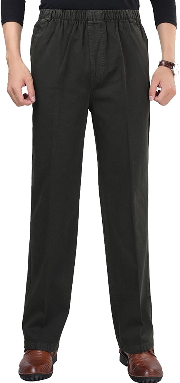 Zoulee Men's Full Elastic Waist Cotton Pants Casual Pants Straight Trousers