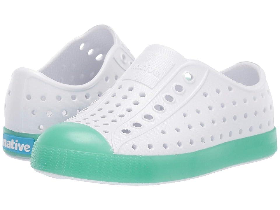 Native Kids Shoes Jefferson Glow (Toddler/Little Kid) (Shell White/Minty Green Glow) Kid