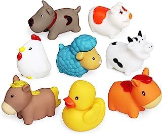 JUNSHEN Juguetes de baño Flotante (8 Piezas),Juguetes de baño Suave Bañera Aprendizaje Perros Patos Ovejas Gallina Cerdo J...