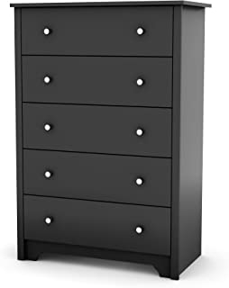 South Shore Vito Collection 5-Drawer Dresser, Black with Matte Nickel Handles