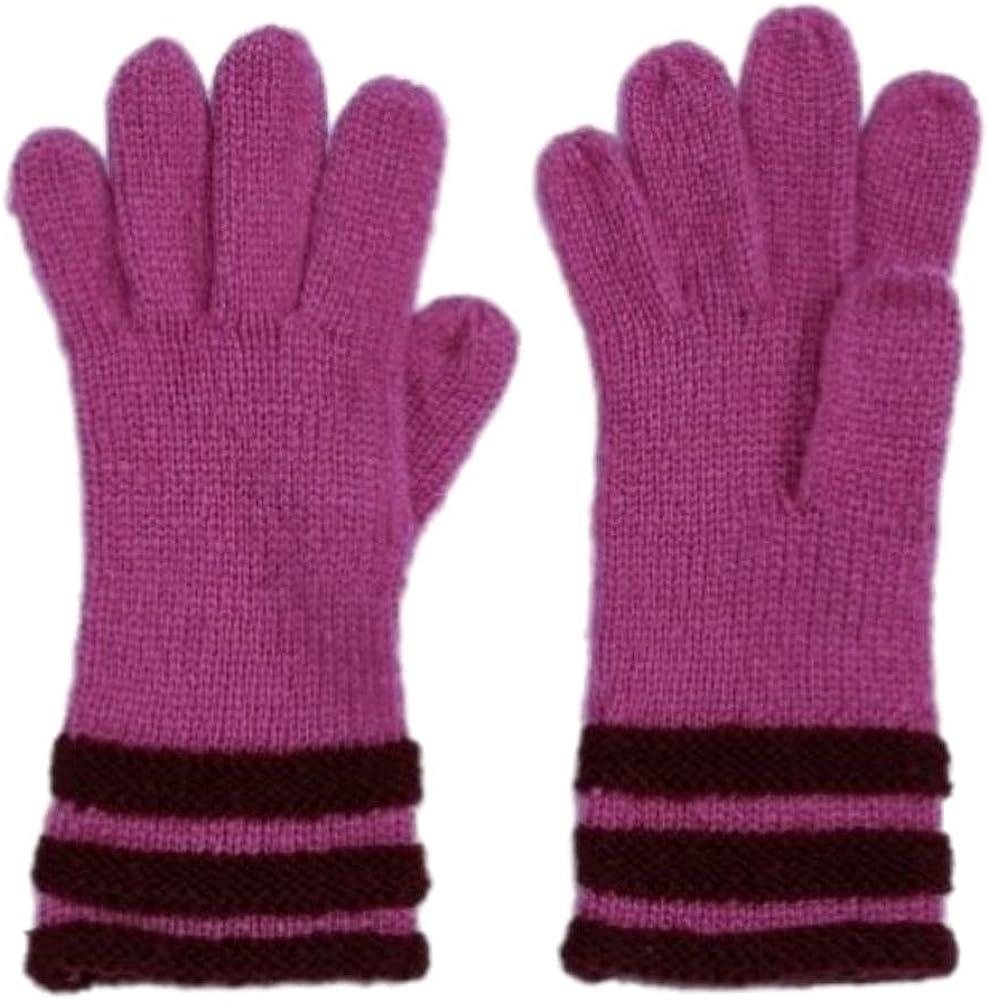 Fownes Womens Soft Purple Striped Knit Gloves Fuchsia Berry