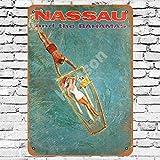 JULYCC Nassau Bahamas Reise-Poster, Metall-Blechschild,