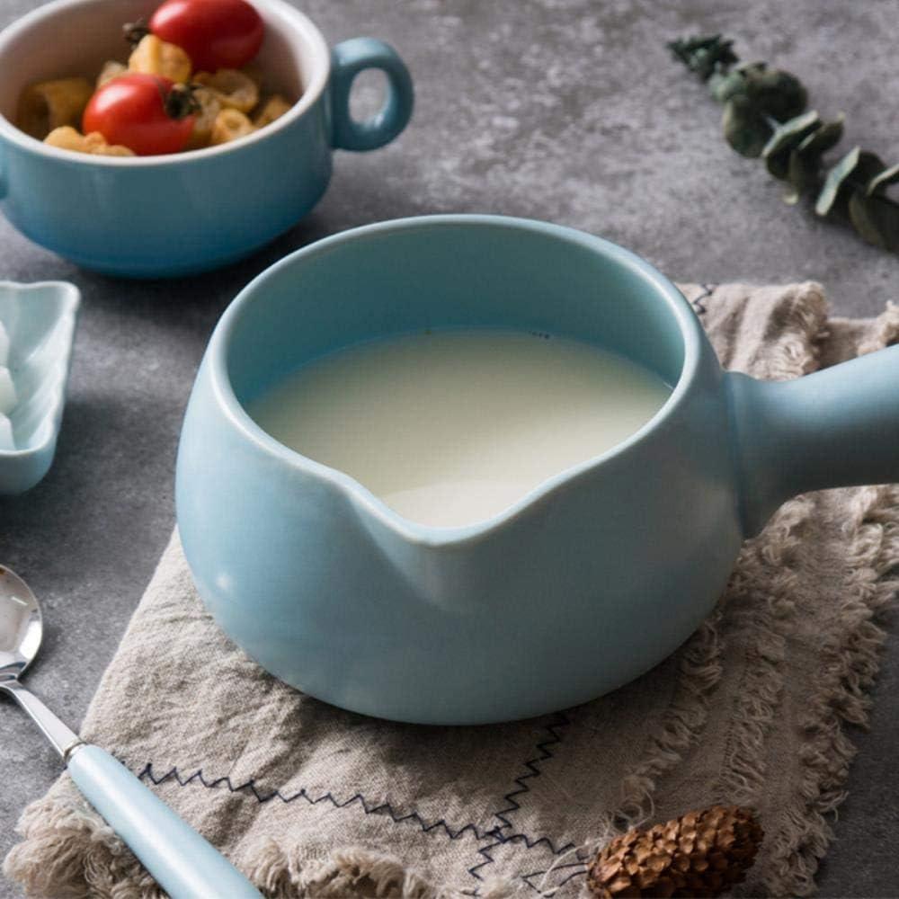 ZCM Mini Pot à Lait en Céramique Casserole Pot à Soupe Bébé Cuiseur Alimentaire Complémentaire Pot à Soupe Bouillie à Poignée Unique 700ML(Color:Rose) Blanc
