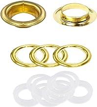 Trimming Shop Gouden 40mm roestbestendige oogjes met messing & kunststof ringen voor gordijnen palen, zwembadhoezen, dekze...