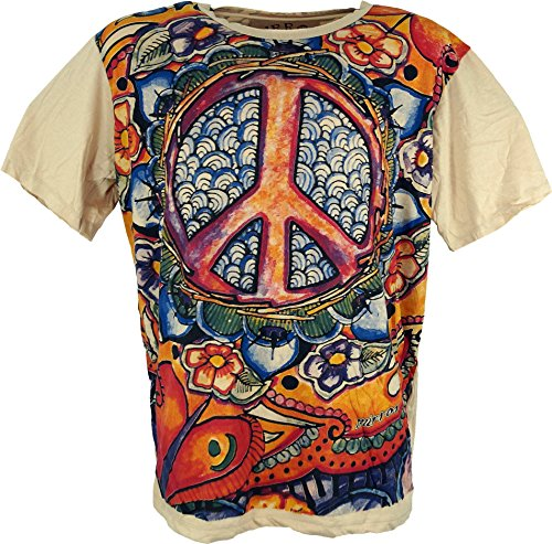 Guru-Shop Mirror T-Shirt - Peace/Beige, Herren, Baumwolle, Size:L, Bedrucktes Shirt Alternative Bekleidung