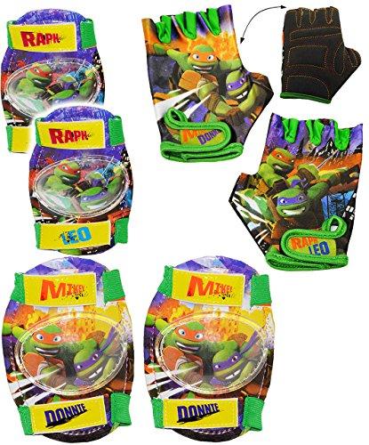 alles-meine.de GmbH 6 TLG. Set:  Teenage Mutant Ninja Turtles  - Handschuhe & Knieschützer + Ellenbogenschützer - für Circa 4 bis 6 Jahre - für Kinder - Fahrradhandschuhe - Gel..