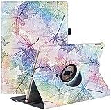 Funda para iPad 8.a generación 2020 / iPad 7.a generación 2019, funda protectora ajustable de 360 grados con visualización en múltiples ángulos y suspensión / activación automática (Colorful Leaves)