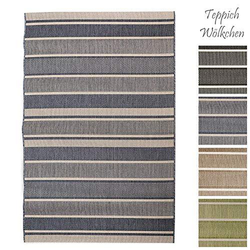 Teppich Wölkchen Outdoor-Teppiche für Draußen | Balkon Terrasse Garten Küche | Wetterfest Wasserfest und UV-Beständig mit ÖKO-TEX 100 | Jeans Blau - Gestreift - 140 x 200 cm