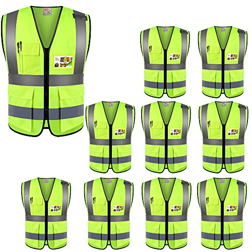 ZOJO High Visibility Safety Vests With Pockets, Wholesale Reflective Vest for Outdoor Works, Cycling, Jogging, Walking,Sports - Fits for Men and Women (Pack of 10, XL Neon Yellow)