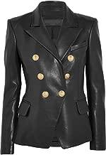 Leather Hubb Women's Black Kim Kardashian Leather Blazer/Coat/Jacket for Ladies