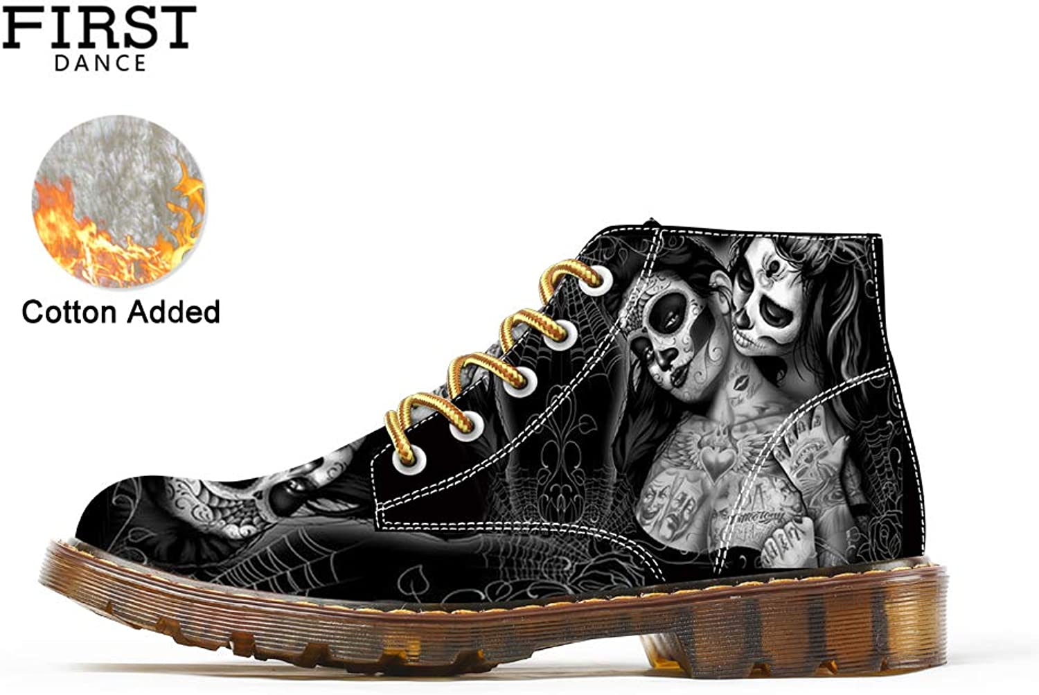 FIRST DANCE Women Canvans shoes Boots Skull Print shoes Dr Martins shoes Fashion Sneaker Black for Woman