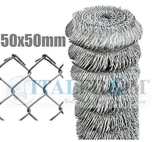 ITALFROM Rotolo 25mt Recinzione Rete Metallica Zincata Maglia Sciolta Maglia:mm50X50 Diametro Filo:mm 1,8 Altezza Rete:100 cm cod.2393
