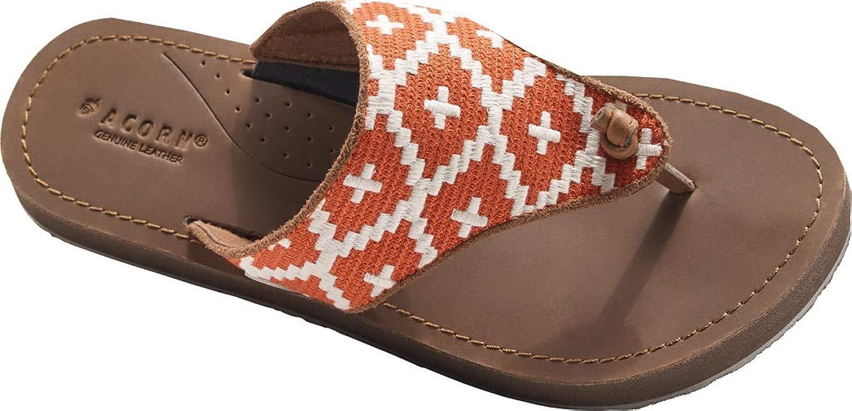 Acorn Artwalk Leather Flip Flop - Wouomo arancia Cream Southwest, 6.0