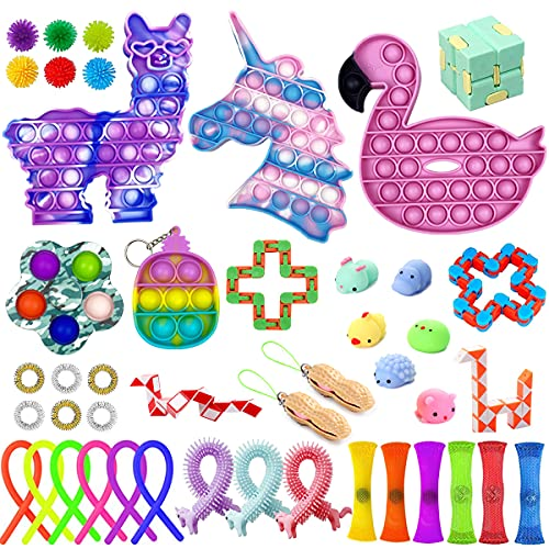 Jofan 45 Pack Fidget Toys Set Fidget Packs with Unicorn Alpaca Flamingo Pop Toys Mini Pop Dimple...