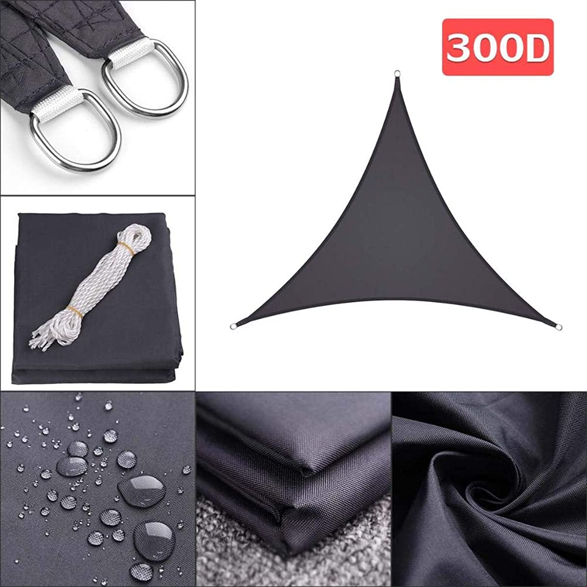 YHLU 280GSM/300D HDPE Right Triangle Awning Shade Sail Sun Outdoor Waterproof Sun Shade Sail Garden Patio Pool Camping Picnic Tent