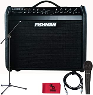 Fishman PRO LBX 5BB Loudbox Mini, Special Edition Black on Black with Mic-stand, Microphone, XLR Cable, and PitbullAudio Microfiber Cloth