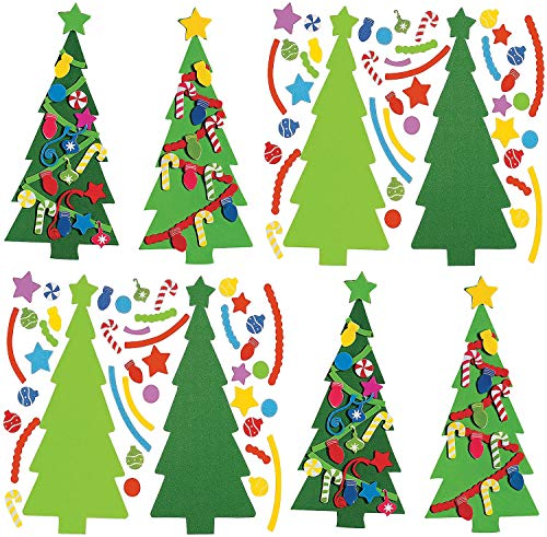 4E's Novelty Christmas Tree Craft Kit for Kids Bulk (24 Pack) Foam Self Adhesive Shapes - Decorate Your Own Christmas Tree Bookmark, Fun Holiday DIY Project Party Activities, Party Favors