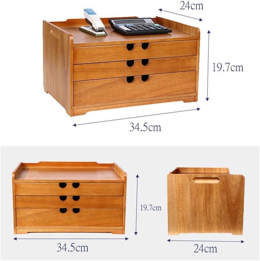 Color : Natural, Size : 34.5x24x19.5cm Desktop Cabinet Drawer Drawer Cabinet Desk Organizer Filing /& Organizing Paper Documents Tools Supplies Home Office Desktop File Storage Box File Cabinets