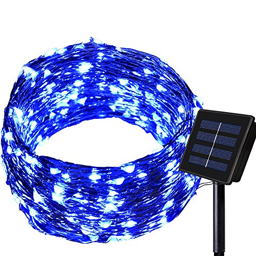 Dolucky Solar String Lights, 1Pack 72FT 200 LED Blue Solar Fairy Lights, 8 Modes Waterproof Copper Wire Solar Powered Fairy String Lights for Yard Walkway Garden Holiday Party Decor(Blue)