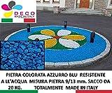 Pietre Decorative per Il Giardino, Colore: Azzurro Blu. Mis. 9/13 mm. (Sacco 20 kg.)...