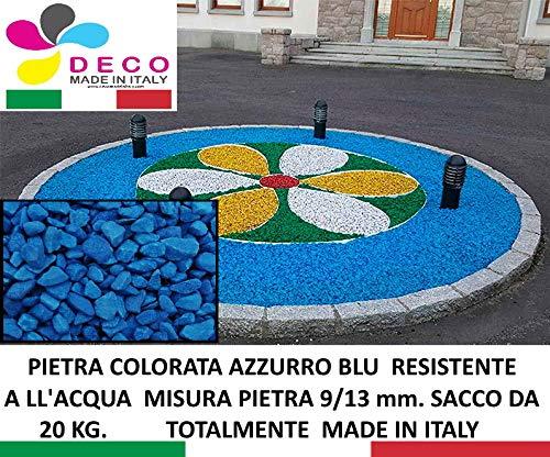 Pietre Decorative per Il Giardino, Colore: Azzurro Blu. Mis. 9/13 mm. (Sacco 20 kg.)