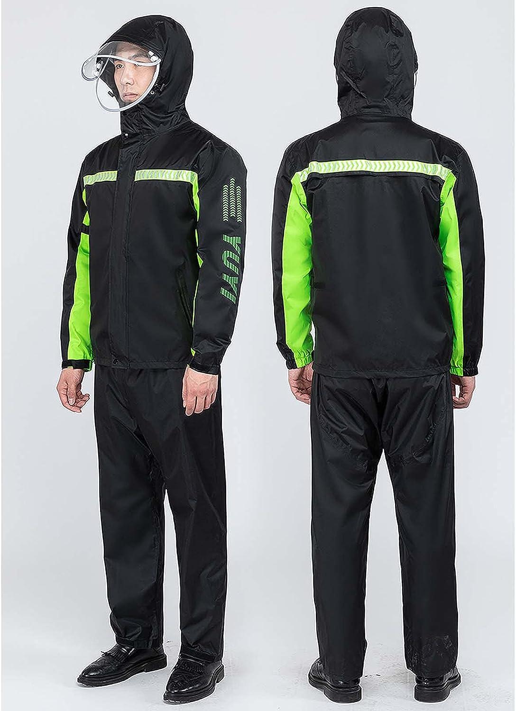 FHGH Double-Layer Commuter Split Raincoat, Thickened Reflective Men's Raincoat Set, Detachable Double Brim,A,Medium