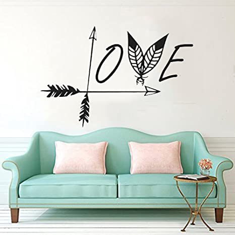 Cugbo Wall Decals Black Love Arrow Wall Sticker Feather Wall Art Mural Vinyl Stickers Bedroom Living Room Decor Amazon Ca Home Kitchen