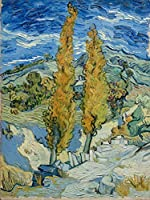 ゴッホの油絵アートプリントポスター Two Poplars on a Road Through the Hills - フィンセント ファン ゴッホ 世界の名画 高級ポスター 40cmx60cm アートプリントキャン バス 写真