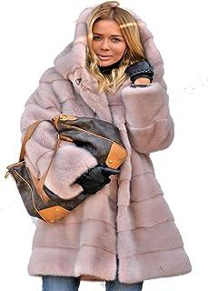 1f936a645598c Roiii Womens Winter Luxury Outerwear Long Sleeve Faux Mink Faux Fur Plus  Size Hooded Coat Black
