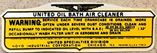 TERRIFIC 1946 1947 1948 1949 1950 WILLYS JEEP UNITED OIL BATH AIR CLEANER BASE DECAL - STICKER All Models