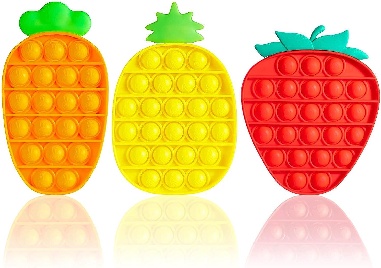 Kabvry 3 Pack Pop Bubble Recommended Max 45% OFF Sensory Fidget Fidg it Toys Push Fruit